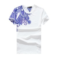Free shipping 2014 summer new large blue and white pattern printed pattern Slim short-sleeved T-shirt