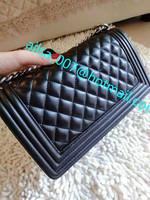 2014 New Design Lambskin  LE BOY  Leather Flap bag women Brands Designer Quilted Chain bag Shoulder Messenger bags 6 Colors