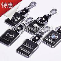 2014 New high-grade leather-dimensional logo keychain / fashion alloy car keychain gift free shipping