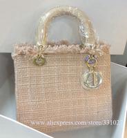 NEW Sell Original Linen fabric Women's Famous Tote Violet Lady Bags Diorissimo Handbag Designer fashion handbag