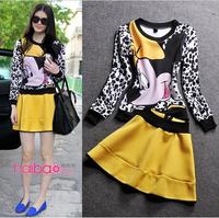 2014 autumn Mickey Mouse Cute Cartoon clothing set Print Sweatshirt Yellow Mini Skirt suits  girls women