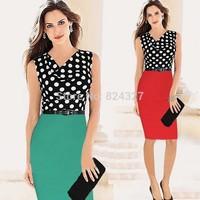 Wholesale Hot Sale New Fashion Polka Dot Sleeveless Knee-length Pencil Party Evening Women Dresses Size S M L XL XXL