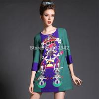 2014 autumn women's plus size Jacquard prom dress brand retro print half sleeve black dress 2xl,3xl,4xl,5xl