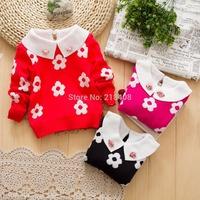 2014 new autumn  female children's girl clothing plum blossom crew neck sweater children sunflowers sweater