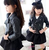New metallic zipper up jacket kids turn-down collar leather coat thin/velvet children's outerwear motorcycle jacket for girl