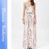 2014 Summer New Fashion Printing Women Long Dress Chiffon Floor-Length Sleeveless Off the Shoulder Dress Vestidos