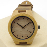 2014 New Design Novelty Christmas Gifts Bamboo Wooden Watches Japan Quartz Wristwatches With Genuine Leather High Quality