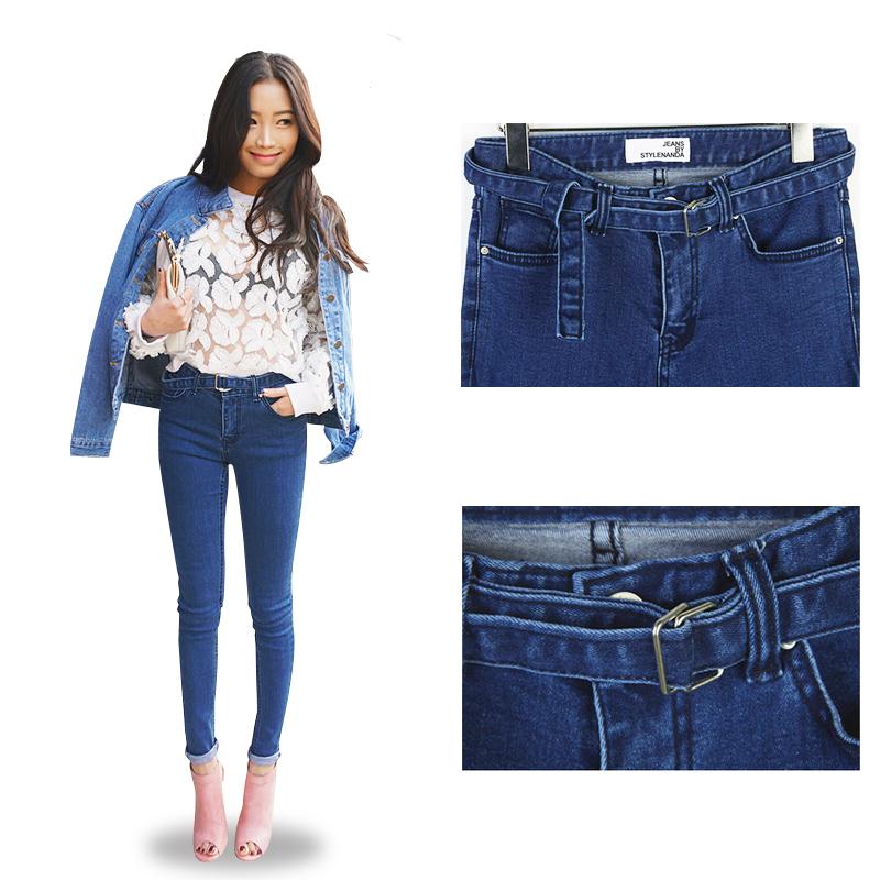 2014 neue jeans frauen gürtel design casual loch jeansstoff M L XL