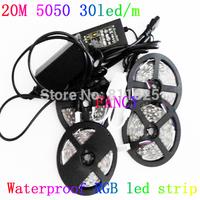 20M Waterproof 5050 RGB strip light 30Leds/M SMD Flexible Led Strip+44key Remote Controller+12A  Amplifier+12V Power  Adater