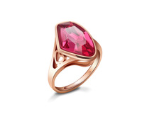 Top 18k Gold Plated Irregular Pink Crystal Finger Ring Fashion Wedding Jewelry Accessories Rings For Women