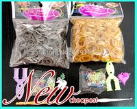 3600PCS 6bag/lot  Metallic Color Golden and Silver Rubber Loom Bandz Refills for Kids DIY Bracelets ( 600 pcs band + 1 hook )