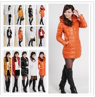 Promotion!2014 New winter jacket women pu feather cotton middle-length hood 8colors L to XXL autumn winter female parkas coat