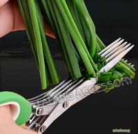 Hot Sale 1pcs Stainless steel scissors /5 layer scissors Multifunctional onion noodles laver broken kitchen scissors GI871017