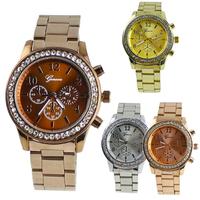 Geneva Bling Crystal Ladies Women Girl Unisex Stainless Steel watches Quartz Wrist Watch 006M