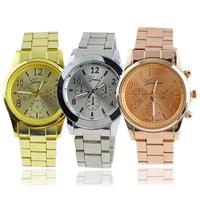 New Fashion Geneva Ladies Women Girl Unisex Stainless Steel Quartz Wrist Watch 006G