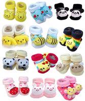 2014 meias bebe 6pairs/lot 100% cotton Baby socks rubber slip-resistant floor socks cartoon socks 0--6 months baby KLL017