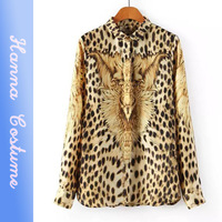 New arrival leopard printed women blouse chiffon blusas renda femininas 2014 summer woman clothes