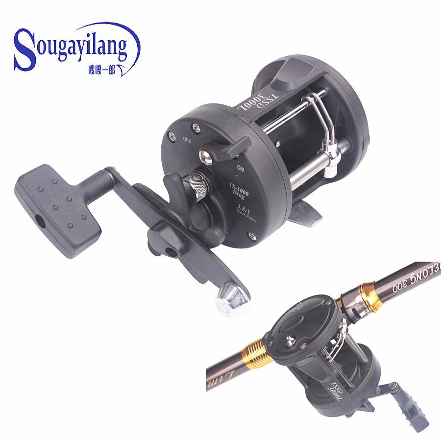 Sougayilang TSSD3000L 3.8:1 Right Hand Black Baiting Casting Drum Type Reel Wheel Casting Fishing Reel