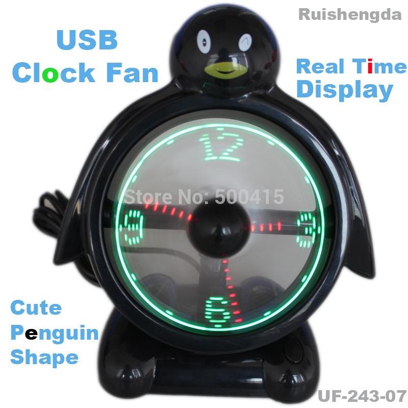 pinguino forma usb orologio ventilatore con visualizzazione in tempo reale