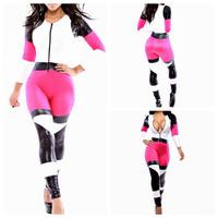 Patchwork 2014 Fashion Rompers Womens Jumpsuit Print Club Bodysuit Elegant Long Bandage  Super Star Patchwork Playsuit Outfit