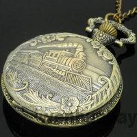 Vintage Bronze Train Front Locomotive Engine Necklace Quartz Pocket Watch Chain P07