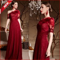 2014 New Arrival Women Special Design Sequined Floor Length Evening Dress With Short Sleeves Luxury Red Long Prom Dress 30632