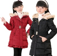 Girls Winter Down Jacket Children Hoodies Down Coat Kids Gilr Fur Collar & Belt Knee Length Outwear Size 110-165 Free Drop Ship