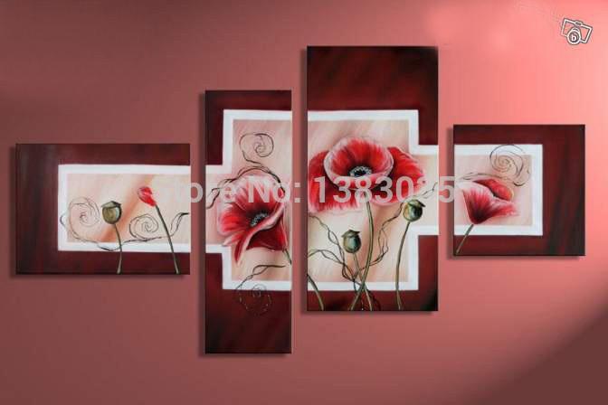 Pintados à mão flores modernas pinturas a óleo de Red Poppies 4 peça abstrata Canvas Wall Art imagem para Decor Set(China (Mainland))
