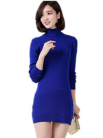 Free Shipping 2014 Autumn Winter high-necked cashmere sweater, female Turtleneck long Sweater Dress S-3XL