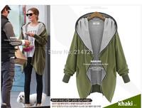 XXXXXL new 2014 autumn winter jackets fashion plus size with a hood zipper women/female clothing 5XL coat Long sleeve Tops wrap