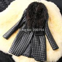 2014 New Winter Autumn Women Faux Leather Grass Coats,Women Faux Fur Jacket,Women's Fashion Latest Brand,Woman Long Coats