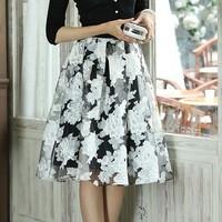 Free Shipping 2014 Korean version  spring  Autumn Women Long organza printed  High waist tutu skirts,Plus Size Printing Skirts