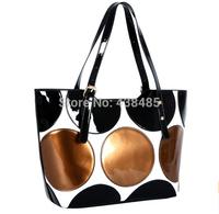 2014 Color Block Shoulder Bag Shaping Genuine Leather Women Handbag Purse One Shoulder Bag Shiny Shopping Bag