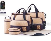 Free shipping!!! 5Pcs Fashion Multi Function Baby Bag Baby Diaper Bags Mummy Mama Nappy bags Tote coach Handbags