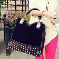 new 2014 rivet stitching flannel bag shoulder bag brand fashion Rivet Studded Women Messenger Bags women leather handbags totes