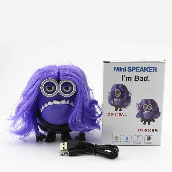Mini odieux me violet. sbires enceinte sans fil haut parleur portable hifi lecteur carte de tf de soutien de radio fm livraison gratuite