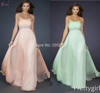 Beaded Belt A-Line Strapless Floor-Length Chiffon Formal Evening Dress Gown
