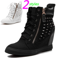 GZ Canvas Wedge Fashion Sneakers,Denim Black,Jeans Rivet Double-sided Zipper,Size 35~39,Height Increasing 6cm,Women`s Shoes