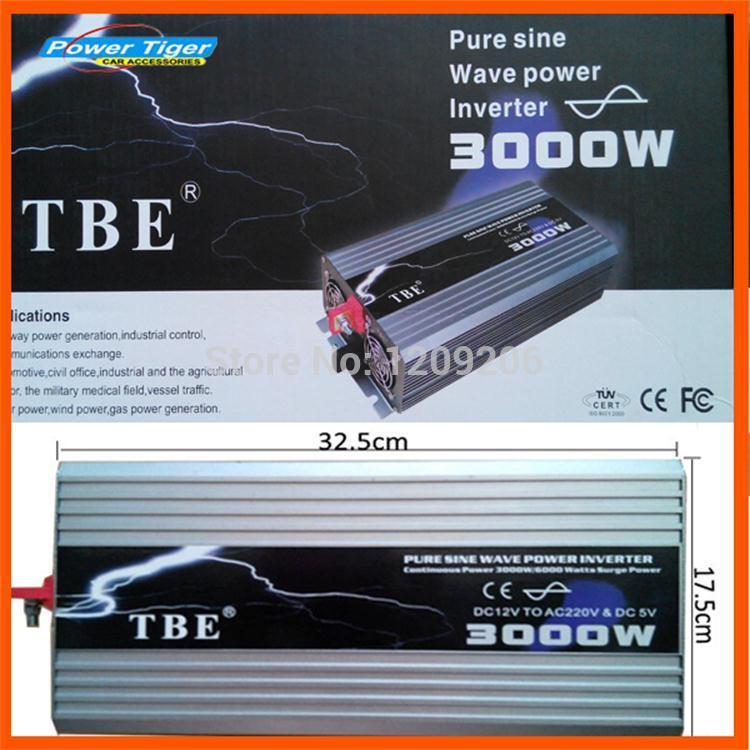 TBE 3000watt 3000W USB DC12V To AC 220V Pure Sine Wave Inverter Car Electronic Accessories 3000W Peak Power 6000W Solar Inverter(China (Mainland))