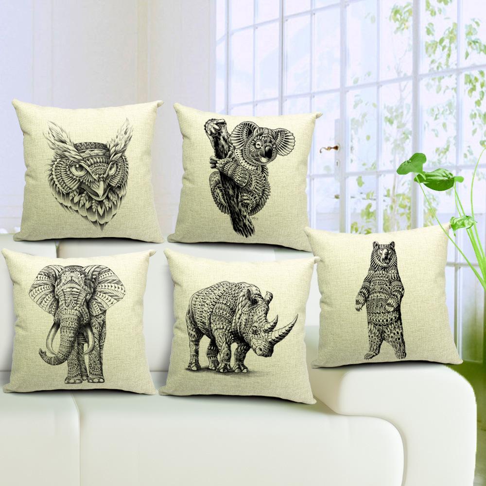 IKEA sofá elefante vento animais escritório rinoceronte almofada Nordic abrange algodão travesseiro almofada de carro caso Segure travesseiro 45 * 45 centímetros(China (Mainland))