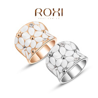 11.11 ROXI Classic Genuine Summer Gift Austrian Crystals Sample Sales Platinum Gold Plated Happiness Flower Ring Fashion Jewelry