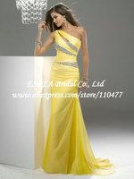 Stylish Crystal One Shoulder Chiffon Yellow Long Dress Party Evening Elegant Mermaid JR630 Vestidos de Fiesta