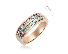 Multicolored Alliances Of Marriage Ring Made With Swarovski Elements Austrian Crystal Rose Gold Plate Bulk Cheap