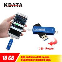 KDATA 360 rotating 16GB OTG USB3.0 Flash Drive Memory Stick MLC Chip Pen Drive for Smart Phone Double Nip Free Ship