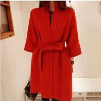 2014 Design New Spring/Winter Trench Coat Women Medium Long Plus Size Warm Wool Jacket European Fashion Overcoat Freeshipping