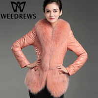 Women's Genuine Sheepskin Leather Jacket With Natural Fox Fur Collar Fashion Real Down Leather Coat Patchwork Fur Clothes Winter