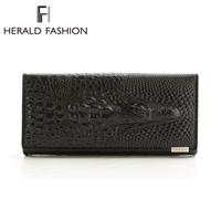 Genuine Leather Women Wallet Crocodile Head Cow Leather Wallet Fashion Women Purse 3D Long designer Money Clip Carteira Feminina