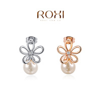 ROXI 2014 New Fashion Jewelry Rose Gold Plated Statement Flower Stud Earrings For Women Party Wedding Free Shipping