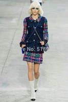 Luxury New 2014 autumn winter women runway fashion brand color block woolen single breasted coat outerwear mini wool skirt suits