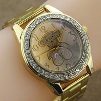 Brand Famous Style Fashion Gold Stainless Steel Women Rhinestone Watches Crystal Bear Series Quartz Wristwatch reloj mujer